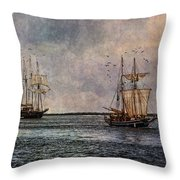 Tall Ships Throw Pillow by Dale Kincaid