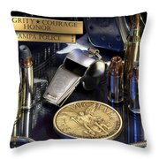 Tampa Police St Michael Throw Pillow by Gary Yost