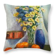 Tangerines And Tome Throw Pillow by Beth Johnston