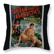 Tarzan And The Amazons Throw Pillow by Georgia Fowler