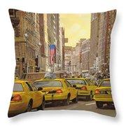 taxi a New York Throw Pillow by Guido Borelli