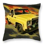 Taxicab Repair 1974 Gmc Throw Pillow by Blake Richards