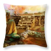 Taxilla Unesco World Heritage Site Throw Pillow by Catf
