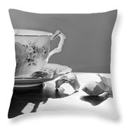 Tea And Roses Still Life Throw Pillow by Lisa Knechtel