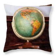 Teacher - Globe On Piano Throw Pillow by Susan Savad