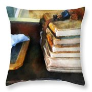 Teacher - Old School Books and Slate Throw Pillow by Susan Savad
