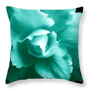 Teal Green Begonia Floral Throw Pillow by Jennie Marie Schell