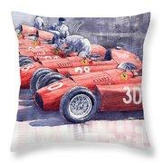 Team Lancia Ferrari D50 type C 1956 Italian GP Throw Pillow by Yuriy  Shevchuk
