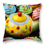 Teapot And Cupcakes  Throw Pillow by Garry Gay