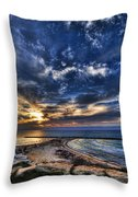 Tel Aviv Sunset At Hilton Beach Throw Pillow by Ron Shoshani