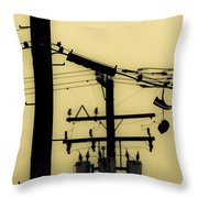 Telephone Pole And Sneakers 5 Throw Pillow by Scott Campbell