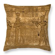 Temple At Denderah Egypt Throw Pillow by Brenda Kean