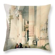 Temple Called El Khasne Throw Pillow by David Roberts