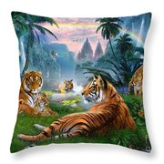 Temple Lake Tigers Throw Pillow by Jan Patrik Krasny