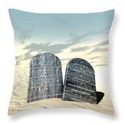 Ten Commandments Standing In The Desert Throw Pillow by Allan Swart