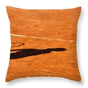 Tennis Player Shadow On A Clay Tennis Court Throw Pillow by Dutourdumonde Photography