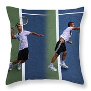 Tennis Serve by Mikhail Youzhny Throw Pillow by Nishanth Gopinathan