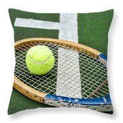 Tennis - Wooden Tennis Racquet Throw Pillow by Paul Ward