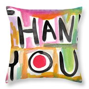 Thank You Card- Watercolor Greeting Card Throw Pillow by Linda Woods