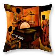 The 1st Jazz Trio Throw Pillow by Larry Martin
