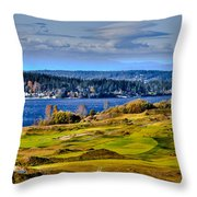 The Amazing Chambers Bay Golf Course - Site Of The 2015 U.s. Open Golf Tournament Throw Pillow by David Patterson