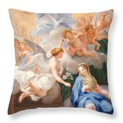 The Annunciation Throw Pillow by Giovanni Odazzi
