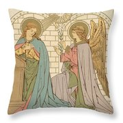 The Annunciation of the Blessed Virgin Mary Throw Pillow by English School