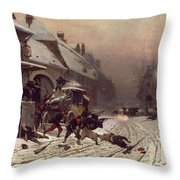 The Attack At Dawn Throw Pillow by Alphonse Marie De Neuville