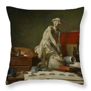 The Attributes Of The Arts And The Rewards Which Are Accorded Them Throw Pillow by Jean Baptiste Simeon Chardin