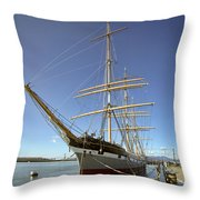 The Balclutha Historic 3 Masted Schooner - San Francisco Throw Pillow by Daniel Hagerman