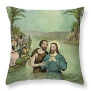 The Baptism of Jesus Christ Circa 1893 Throw Pillow by Aged Pixel