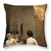 The Bathers Throw Pillow by Jean Leon Gerome