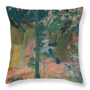 The Bathers Throw Pillow by Paul Gaugin