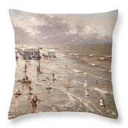 The Beach At Ostend Throw Pillow by Adolphe Jacobs
