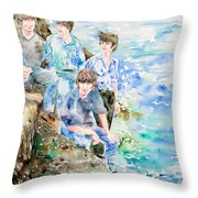 The Beatles At The Sea Watercolor Portrait Throw Pillow by Fabrizio Cassetta