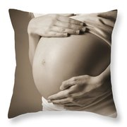 The Belly Of A Pregnant Woman Throw Pillow by Leah Hammond