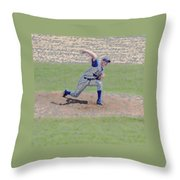 The Big Baseball Pitch Digital Art Throw Pillow by Thomas Woolworth