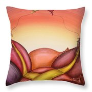 The Big Kiss Throw Pillow by Krystyna Spink