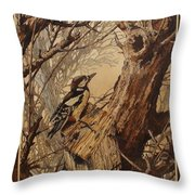 The Bird And Tree Marquetry Wood Work Throw Pillow by Persian Art