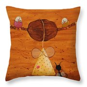The Birds Love My Hair Throw Pillow by Lucia Stewart