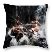 The Birth Of The Double Star. Anna At Eureka Waterfalls. Mauritius. Tnm Throw Pillow by Jenny Rainbow