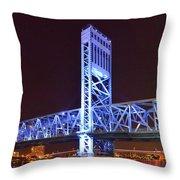 The Blue Bridge - Main Street Bridge Jacksonville Throw Pillow by Christine Till
