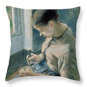 The Breakfast Throw Pillow by Camille Pissarro