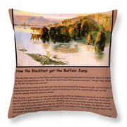 The Buffalo Heard  Throw Pillow by Charles Russell