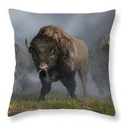 The Buffalo Vanguard Throw Pillow by Daniel Eskridge