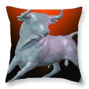 The Bull... Throw Pillow by Tim Fillingim