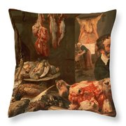 The Butcher's Shop Throw Pillow by Frans Snyders