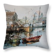 The B'y That Catches The Fish Throw Pillow by Hanne Lore Koehler