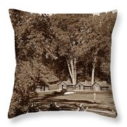 The Cabins Throw Pillow by Skip Willits