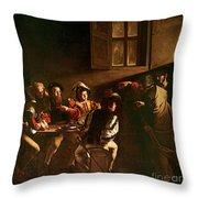 The Calling Of St Matthew Throw Pillow by Michelangelo Merisi o Amerighi da Caravaggio